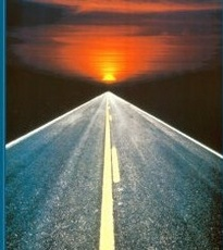 Open road to destination (sunset)